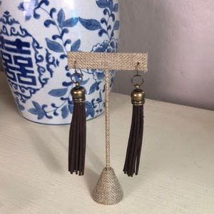 Jewelry - New brown leather tassel earrings